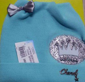 купить голубую шапку для девочки в Новороссийске