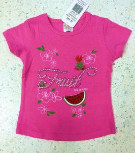 Розовая футболка с фруктами