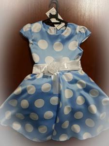 Голубое платье в гооршек