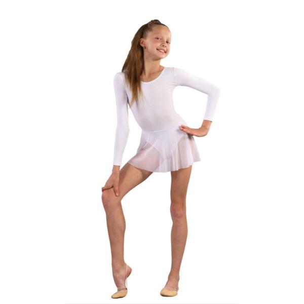 Купальник для танцев с юбкой белый
