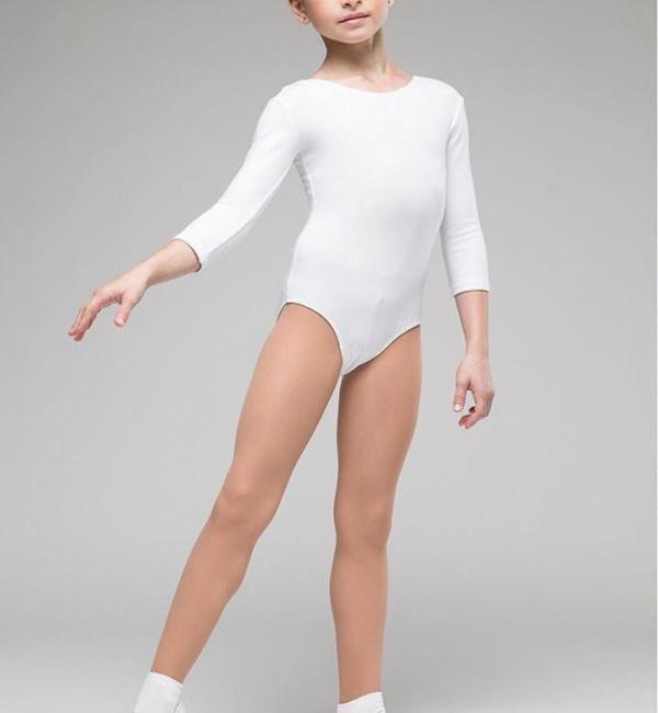Купальник для гимнастики белый без юбки