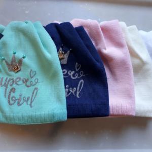 Детские шапки двойной вязхки