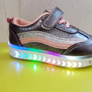 Серые детские кроссовки со светом