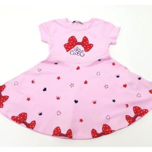 Розовое платье детское с бантами