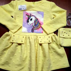 Детское платье желтое с сумочкой