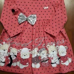 Платье красное с медведями