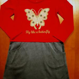 Красное платье с бабочкой