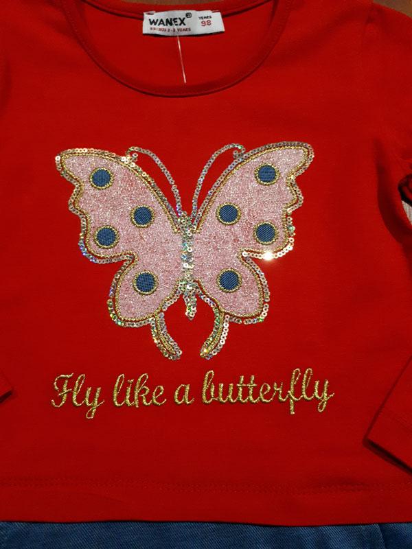 Платье красное с бабочкой близко