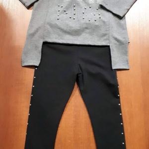 Костюм двойка без капюшона темно - серый с леггинцами