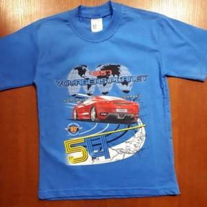 Футболка для мальчика синяя с красной машиной