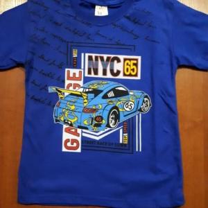 Футболка для мальчика синяя с голубой машиной