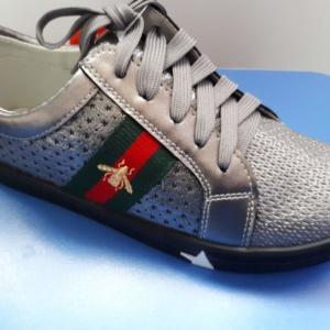 Туфли серебро на шнурках и молнии