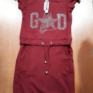 Платье бордовое трикотажное с карманами со стразами GD