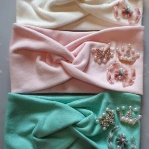 Повязка для девочек разных цветов с бусинами, короной, бантиком