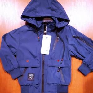 Куртка ветровка темно-синяя с капюшоном