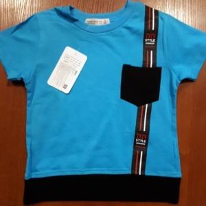 Футболка для мальчика бирюзово-синяя с карманом