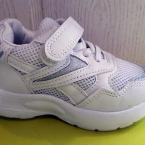 Кроссовки в сеточку на липучках белые с серебром