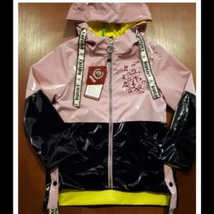 Куртка дождевик розово-черно-желтая подростковая с капюшоном для девочек