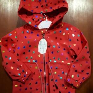 Куртка - парка коралловая в сердечки