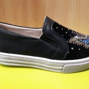 Туфли - слипоны черные замшевые с бабочкой