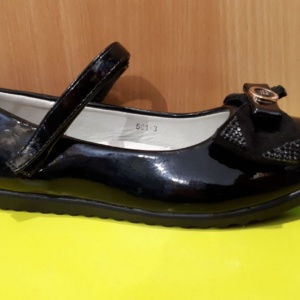 Туфли черные лаковые с бантиком и золотой брошкой Meitesi 30 - 37