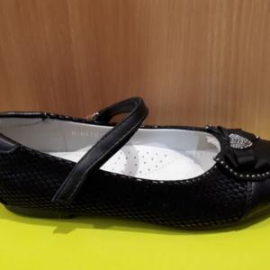 Туфли черные с бантиком и сердечком из страз 31-36 (Tom Miki)