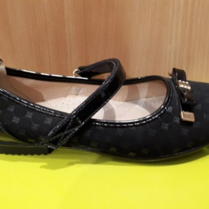 Туфли черные замшево-лаковые с бантиком и стразами Bonnada 32 - 37