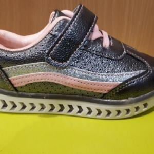 Туфли - кроссовки серые с серебристыми полосками и светящейся подошвой 25 - 30