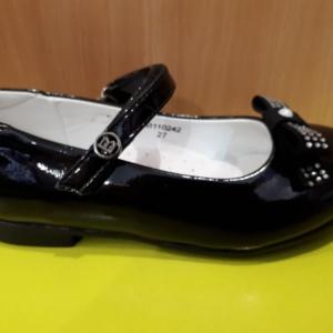 Туфли черные лаковые с бархатным бантиком и стразами 27 - 31 (ВК)