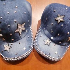 Кепка джинсовая для девочек со звездами