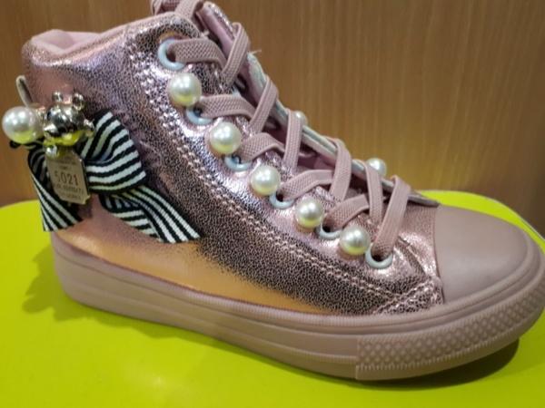 """Туфли - кеды на шнуровке-резинке и молнии """"Jong Golf"""" розовые с бусинками 26-31"""