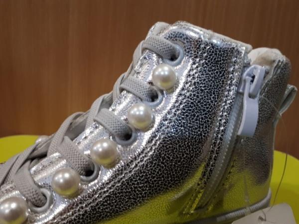"""Туфли - кеды на шнуровке-резинке и молнии """"Jong Golf"""" серебристые с бусинками 26-31"""