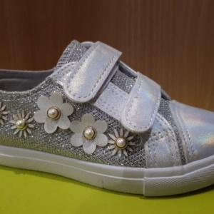 """Туфли - кеды """"М. Мичи"""" серебристо-белые с цветочками и бусинками 26-31"""
