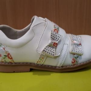 Туфли белые на липучке с цветными вставками 24 - 29