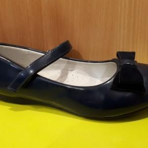 Туфли синие лаковые с бархатным бантиком M+D 30 - 36