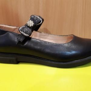 Туфли черные с бантом из страз на застежке Сказка 30 -37