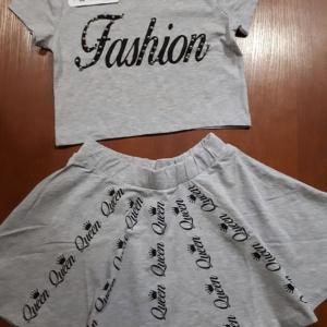 Костюм серый меланж для девочек подростков футболка и юбка