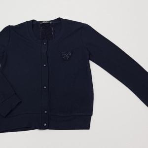 Кофта трикотажная на пуговицах темно-синяя для девочек с бабочкой 128-164