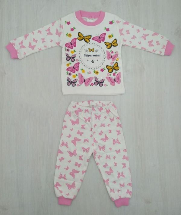 Пижама трикотажная бело-розовая с бабочками с 1 года до 6 лет