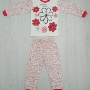 Пижама трикотажная бело-красная с цветами с 1 года до 6 лет