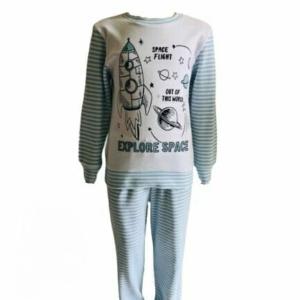 Пижама трикотажная бело-голубая с ракетами с 80 по 122 рост