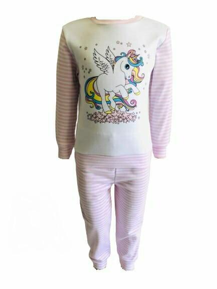 Пижама трикотажная розовая с единорогом с 80 по 122 рост