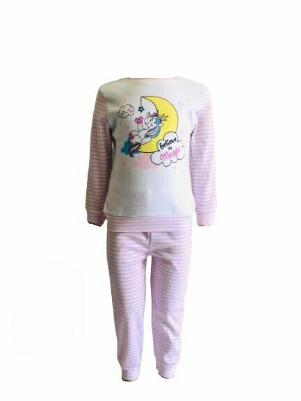 Пижама трикотажная бело-розовая с единорогом на месяце с 80 по 122 рост