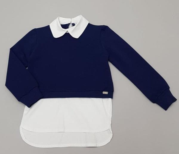 Толстовка-рубашка синяя для девочек 116-134