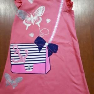 Платье трикотажное хлопковое темно-розовое с имитацией сумочки 98-128
