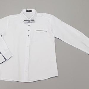 Рубашка с длинным рукавом на подворот и бабочкой для мальчика 140-170