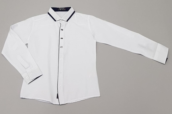Рубашка на кнопках и пуговицах с длинным рукавом на подворот для мальчика 116-152