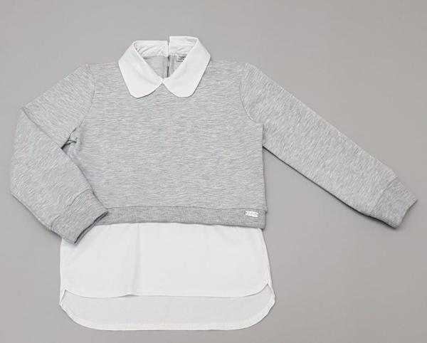 Толстовка-рубашка серая для девочек 116-134