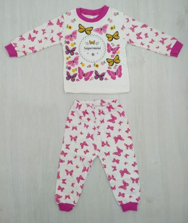 Пижама трикотажная бело-малиновая с бабочками с 1 года до 6 лет