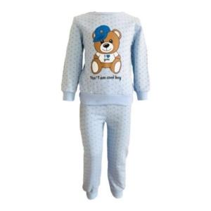 Пижама трикотажная голубая с мишкой в кепке с 80 по 122 рост